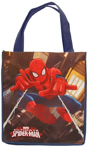 Marvel Spider-Man Large Tote Bag [2 Pieces] *** Product Description: Marvel Spider-Man Large Tote Bag. Durable Tote Bags For The Beach, Camp, Car Or Just About Anywhere. Measures 13.6 In W X 15.6 In H X 6.7 Inch D. ***