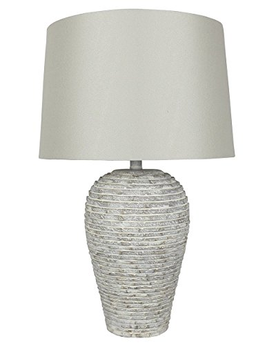 (Urbanest Crestone Table Lamp, Weathered White with Stone Linen Shades, 24 1/2-inch Tall)