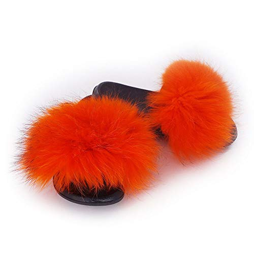 Manka Vesa Womens Luxury Real Raccon Fur Slippers Slides Indoor Outdoor Flat Soles Soft Spring Summer Shoes