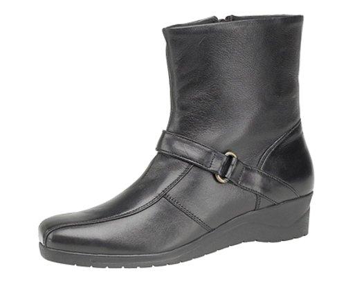Leather Inside Ladies Softie Boots Ankle Wedge Real Zip Black Heel 1Z1qwaTv