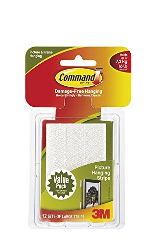 Command Large Picture-Hanging Strips, White, 36-Strip