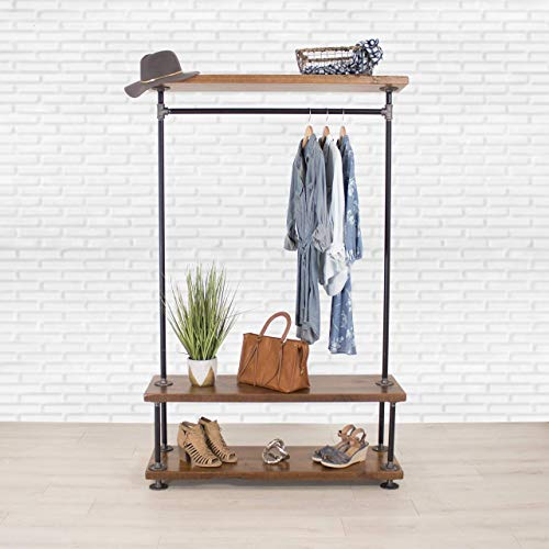 Wood Clothing - Industrial Pipe Clothing Rack with Cedar Wood Shelving by William Robert's Vintage