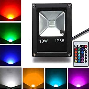 Black Waterproof 10W 800LM RGB Light Remote Controlled LED Flood Lamp (85V-265V)