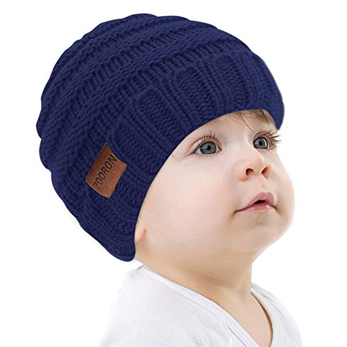 ZOORON Soft Warm Knitted Hats Baby Boys Girls,Chunky Winter Infant Toddler Kid Beanie Knit Caps [1-5years],Dark Blue