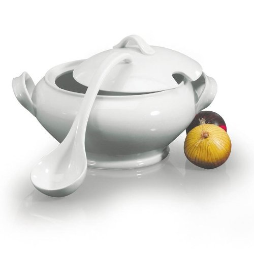 (BIA Cordon Bleu Lyon Collection 3-Piece Soup Tureen Set with Ladle, White)
