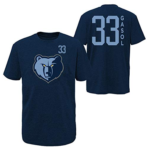 Outerstuff NBA Youth Performance Team Color Primary Logo Player Name and Number Jersey T-Shirt (Small 6/7, Marc Gasol Memphis Grizzlies Navy)