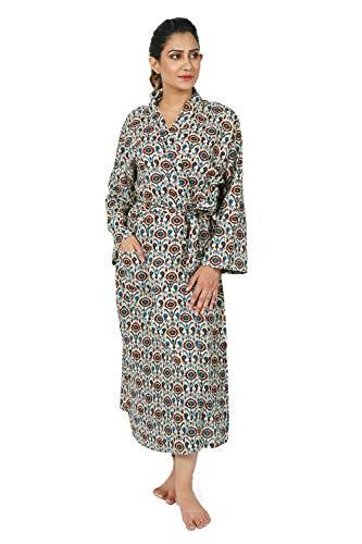 (HANDICRAFT-PALACE Women's Robe 100% Light Cotton Hand-Printed Summer Dressing Gown Robe Light Weight)