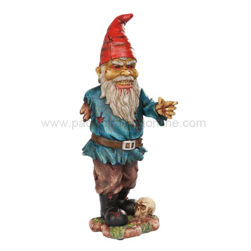11.75 Inch Scary Zombie Garden Gnome with One Arm and Skull Statue