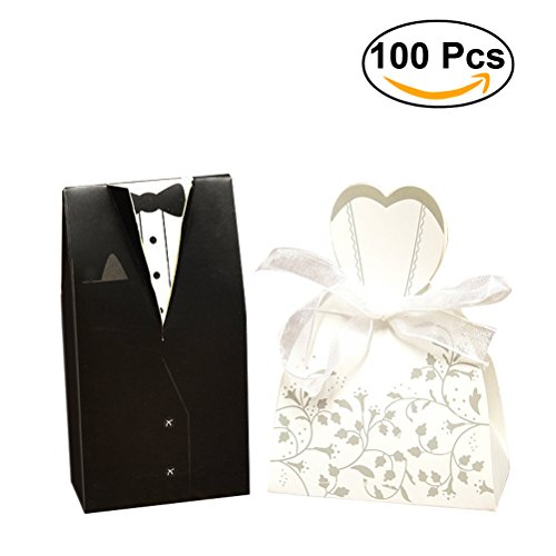 Bride Dress Candy Favor Bag (Wedding Candy Box NUOLUX Party Decorative Boxes for Candy Chocolate Gift Wedding Party Favor 100pcs)