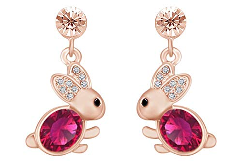 14k Rose Gold Over Sterling Silver Simulated Ruby & CZ Animal Rabbit Easter Bunny Womens Drop Earrings Easter Bunny Rabbit Earrings