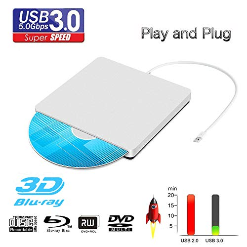 External Blu Ray DVD Drive Reader, Portable Ultra Slim USB 3.0 Blu Ray BD Reader,DVD CD Burner Player Writer Reader Disk for Mac OS, Windows 7/8/10,Linxus, Laptop (Silver)