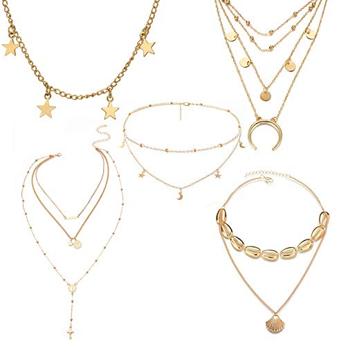 SEVENSTONE 5pcs Gold Choker Necklace Adjustable Pendant Star Moon Layered Multilayer Chain Coin Shell Women Girls Mother Jewelry Set