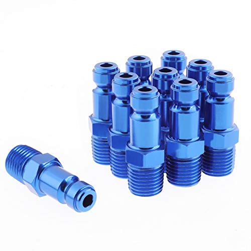 WYNNsky Color Air Fittings, T Style-Blue Air Coupler with 1/4''NPT Male Threads, 10 Pieces Air Compressor Accessories Fittings