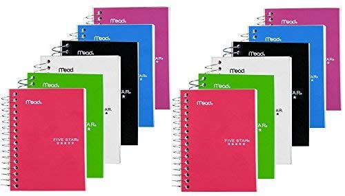 Five Star Fat Lil' Notebook, College Ruled, 3 1/2'' x 5 1/2'', 12 PACK by Mead