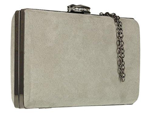 Girly Handbags - Cartera de mano de Material Sintético para mujer gris