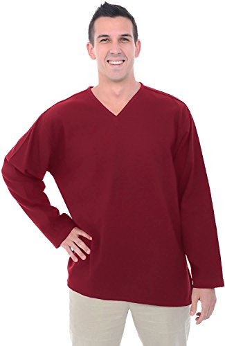 Alexander Del Rossa Mens Cotton Shirt, Long Sleeve V-Neck Top, Medium Burgundy (A0251BRGMD)