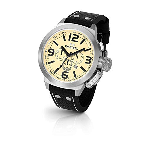 TW Steel Men s TW3 Canteen Black Leather Chronograph Dial Watch