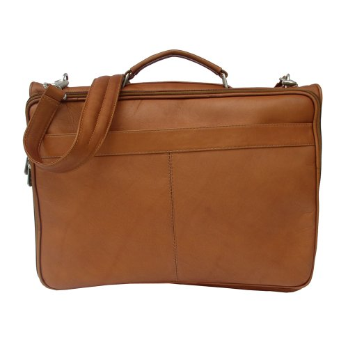 Piel Leather Double Executive Computer Bag, Saddle, One Size
