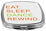 Rikki Knight Eat Sleep Dance Rewind Orange & Green Design Compact Mirror