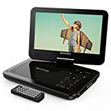 Portable DVD Player 10'' with 5 Hours Rechargeable Battery by SPACEKEY, Swivel Screen, Support USB/SD Slot and 1.8M Car Charger, Support Memory and Region Free (Black)