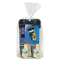 SOLO Cup Company Duo Shield Paper Hot Cups/Lids Combo, 12oz, Tuscan Cafe, 52/Pack, 6 Packs/Carton