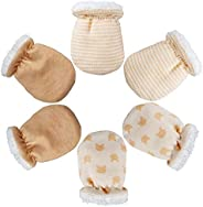 Heqishun 3 Pairs Baby Mittens Winter Anti Scratch Baby Mittens, Winter Baby Warm Gloves for Newborn (0-6 Month