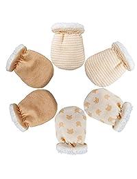 Heqishun 3 Pairs Baby Mittens Winter Anti Scratch Baby Mittens, Winter Baby Warm Gloves for Newborn (0-6 Months)