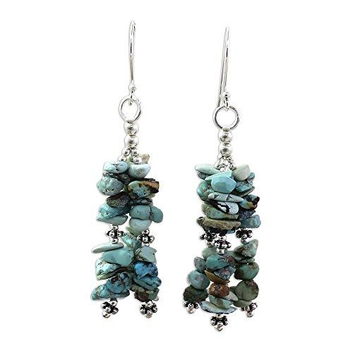 - NOVICA Turquoise .925 Sterling Silver Beaded Hook Earrings 'Rejoice'