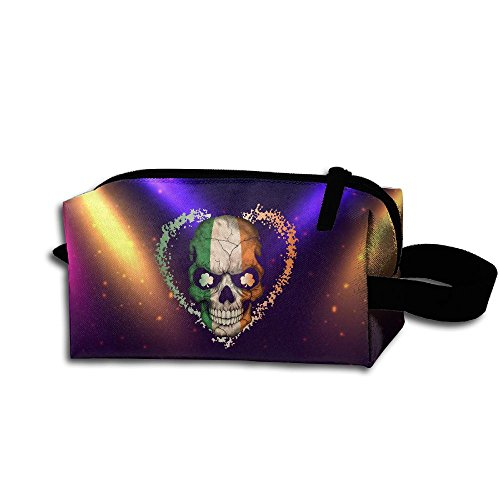 Irish Flag Skull Travel Cosmetic Bag Portable Organizer Multifuncition Handbag (Briefs Equip)