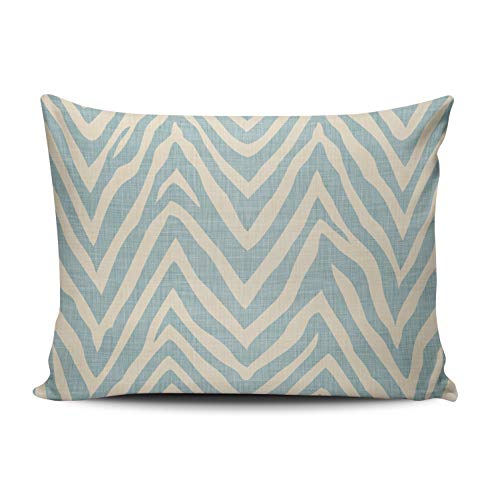 Fanaing Bedroom Custom Decor Beige and Blue Zebra Print Pillowcase Soft Zippered Throw Pillow Cover Cushion Case Fashion Design One-Side Printed Standard 16x24 - Zebra Cover Blue