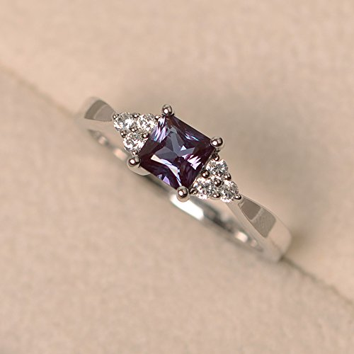 (created alexandrite customized rings for women princess cut sterling silver)