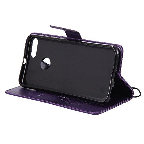 Funda Xiaomi Mi 5X - Alta Calidad Flip PU Cuero Caso Sol Patrón en Relieve /Stent/Billetera/Con el Sostenedor de Tarjeta/Proteccion Caso Cubrir para Xiaomi Mi 5X(Rosa) Púrpura
