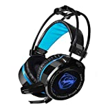 AutumnFall G2 Wired Luminous Gaming Headset Headphones Active Noise Canceling Microphone PS4 PC Laptop Phone (Black)