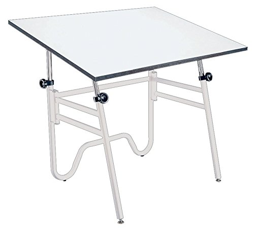 Alvin, Adjustable Foldable Drafting Table, Drawing and Crafting Equipment - Opal, White/White, 30-inches x 42-inches