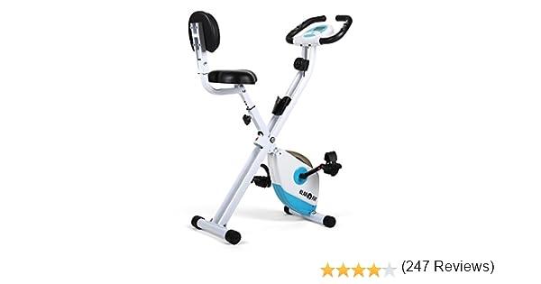 Klarfit X-Bike 700 Bicicleta Estática Plegable (Pulsómetro, Ordenador de Entrenamiento, Montaje Rápido, Resistencia Regulable, Superficie de Apoyo de Goma, 100Kg de Carga Máxima) - Blanco Celeste: Amazon.es: Deportes y aire libre