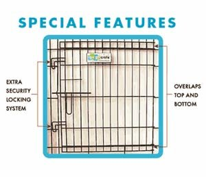 GoGo Pet Products Double Door Black Epoxy Folding Wire Crate, 24-Inch