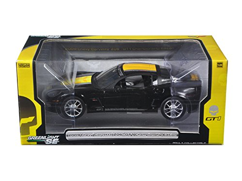 Price comparison product image Greenlight 18208 2009 Chevrolet Corvette C6 Z06 GT1 Jake Edition Black 1 / 24 Diecast Model Car