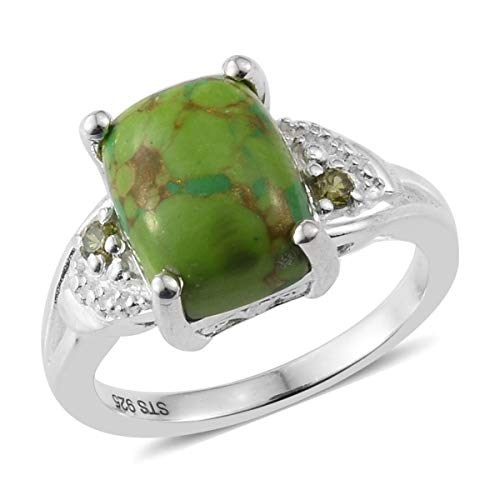 (Statement Ring 925 Sterling Silver Green Turquoise Peridot Cubic Zirconia CZ Gift Jewelry for Women Size 9)