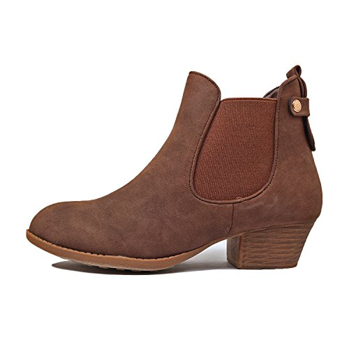 Womens Guilty Brown Boots Closed Chunky Booties Buckle Nubuckv3 Comfortable Heel Perforated Toe Low Ankle Heart rrRO7wq5