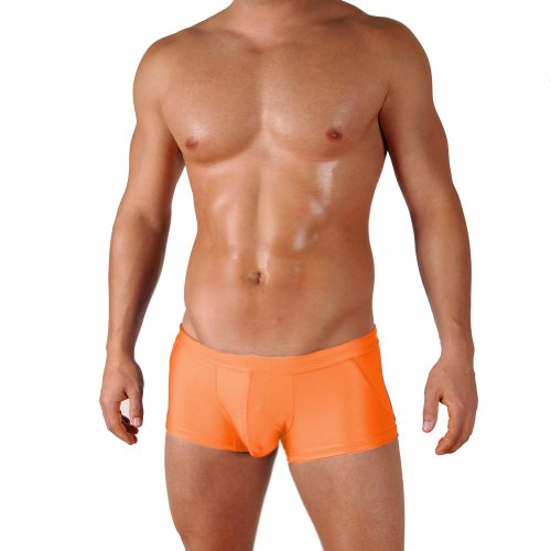 Gary Majdell Sport Mens Orange Classic Competition Style Trunk Boxer Swimsuit with Sexy Fashion Front Pouch Size Medium