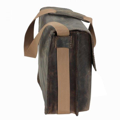 MIKA Lederwaren - Bolso de asas de cuero para hombre marrón silla marrón