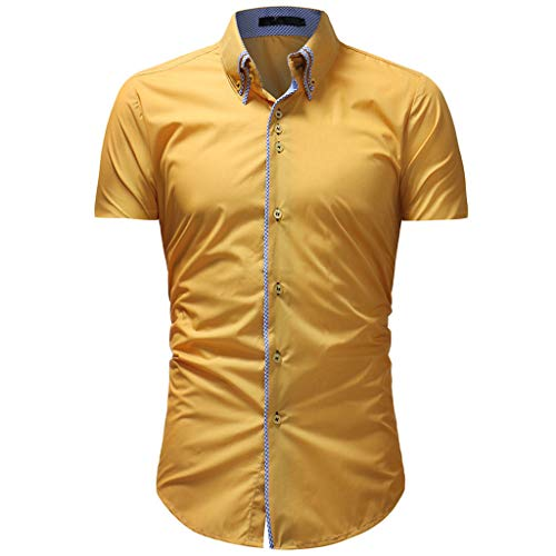 TANGSen_Mens Solid Casual Button Down Top Summer Plus Size Fashion Short Sleeve Shirt Top Blouse Yellow