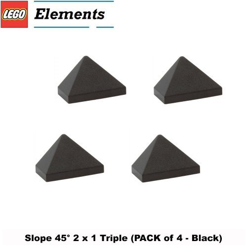 Lego Parts: Slope 45° 2 x 1 Triple (PACK of 4 - Black)