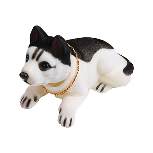 Vanki Handmade childhood memory BobbleHead Dogs Car Dash Puppy for Car Vehicle decoration rocking head dog made by superior Natural Resin(Husky)1pcs