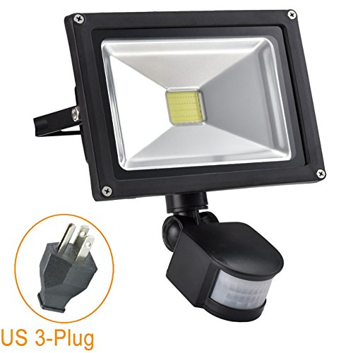 Low Voltage Motion Sensors (W-LITE 20W Led Motion Sensor Flood Lights Outdoor, PIR Induction Lamp, Intelligent Light, 6000K, Cool White, 160W Bulb Equivalent, 1600lm, Super Bright Waterproof Security Floodlight)