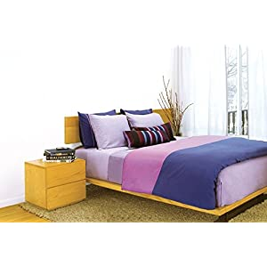 Image of 2 threads Duvet Cover in midnight blue and mauve fuchsia