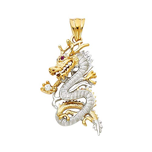 14k Two Tone Gold CZ Dragon Pendant