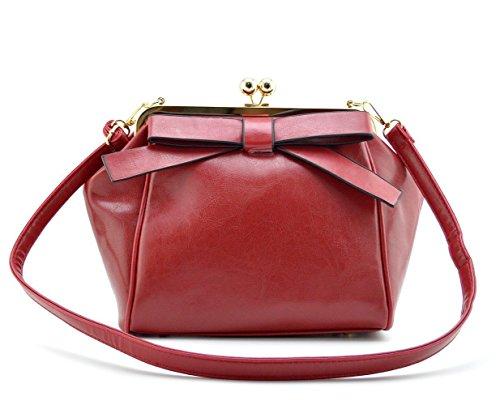 Mn&Sue Rockabilly Pin-up Dual Use Women's Pu Leather Bowknot Kiss Lock Cross Body Evening Handbag Purse (Dual Use Handbag)