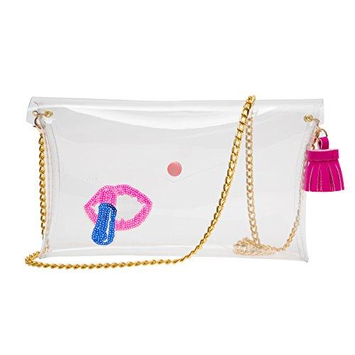Zarapack bolso de mano bolso transparente claro para mujer de embrague True Color cadena hombro bolsa, estilo 4 (transparente) - BA931 estilo 3