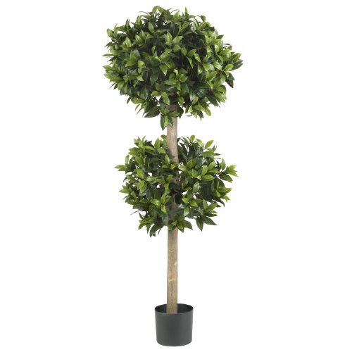Nearly Natural 5311 Sweet Bay Double Ball Topiary Silk Tree, 57-Inch, - Topiary Sweet Bay